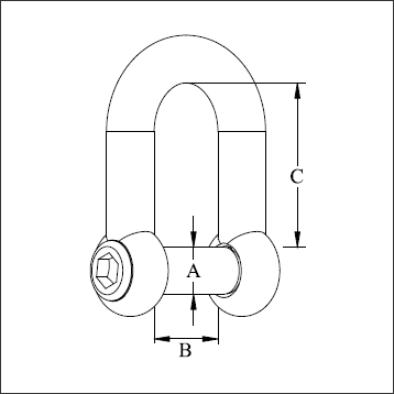 D-SHACKLE WITH HEXAGONAL SOCKET SINK PIN-diagram